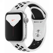 Часы Apple Watch Nike Series 5 GPS 40mm Aluminum Case with White Sport Band MX3R2 (серебристый/белый)