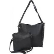 Zureni Ladies Imported High End Pu Leather Handbag Women Tote Shoulder Purse with Additional Sling Bag Girls - Fashionable Messenger Side Bag for Work, Shopping, Office, College and Events - Perfect Gift for Women and Girls Shoulder Bag(Black, 12 inch)