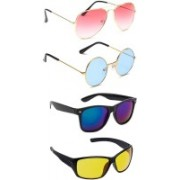 Elligator Aviator, Round, Wayfarer Sunglasses(Pink, Blue, Yellow)