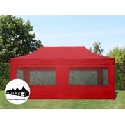 3x6m összecsukható pavilon ablakos Alutec Piros (Economy)