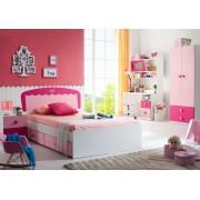 Set mobilier din MDF Princess 5 piese: pat 120 200 cm cu 2 sertare depozitare noptiera dulap 2 usi birou si scaun pentru camera copii