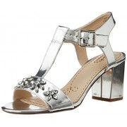 Clarks Women's Deva Daisy Silver Metallic Leather Fashion Sandals - 5 UK