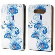 Nokia Lumia 820 Vertical Flip Leren Case - Blauw Bloemen