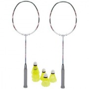 Best Ideas Combo of 2 Pcs Finest Multicolor Badminton Rackets/Racquets and 6 Pcs Nylon Shuttles
