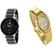 IIK Collection Silver-Black Men And Rosra Gold Ledish Watches For Men Women