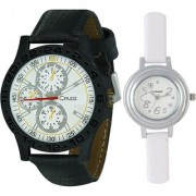 Crude Couple Combo of Analog Watch-rg543 With Synthetic Leather Strap