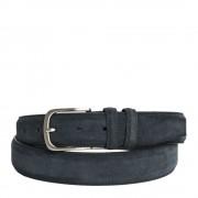 Made In Italy Cintura Uomo in Camoscio Blu 3,5cm