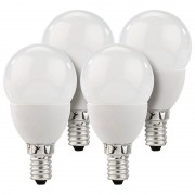 Luminea LED-Tropfen, E14, 3 W, 250 lm, 160°, 3000 K, warmweiss, 4er-Set