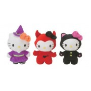 """Hello Kitty 8"""" Reversible Plush Set :Includes All 3 Designs~ Halloween Witch , Devil , Black Cat"""