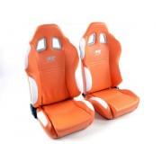 FK-Automotive sedile sportivo coppia di sedili New York (1xsinistra/1xdestra) arancione/bianco, cucitura bianca
