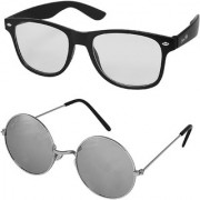 Silver Kartz Combo of 2 Wayfarer Unisex Sunglasses(scm47//Clear//Silver)
