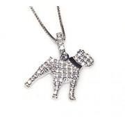 Argento 925 : MyDog collana veneziana pendente cane di razza pave' zirconi microsetting (Pitbull)