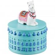 Merkloos Sieradenkistje/sieradenbox witte lamas/alpacas dieren 10 x 8 cm