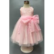 Lejdi Przepiękna różowa sukienka dla dziewczynki, bogato zdobiona gipiurową koronką