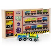 12 Pcs wooden railway trains set works with all major brands of magnetic train cars