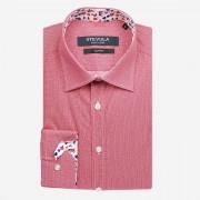 STEVULA Červená popelínová košeľa, Slim fit Veľkosť: S 37/38