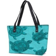 Snoogg Pack Of 2 Seamless Pattern With Turtles Seamless Pattern Can Be Used For Wallpaper Combo Tote Shopping Grocery Bag With Coin Pencil Purse Shoulder Bag(Multicolor, 15 L)