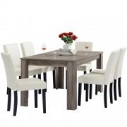 PremiumXL - [en.casa] Blagovaonski stol - rustični hrast - 160x90 cm - sa 6 tapeciranih stolica - krem -