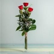 Interflora - 3 Rosas Rojas de Tallo Largo - Flores a Domicilio