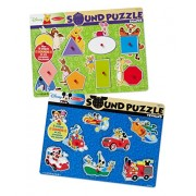 Melissa & Doug Disney Sound Puzzles Set: Winnie the Pooh Shapes and Mickey Mouse Vehicles