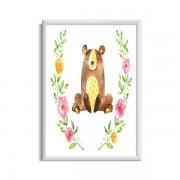 Babyposter met beer pastelkleuren