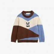 Mini Rodini panda knitted wool pullover Brown