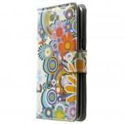 Capa em Pele Estilo Carteira Sofisticada para Samsung Galaxy Grand Prime - Flores Coloridas
