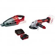 Aspirator cu acumulator PXC TE-VC 18 Li solo, 18 V, 42 mbari, 0.45 l + Polizor unghiular cu acumulator Einhell PXC AXXIO, 18 V, 8500 RPM, 125 mm diametru disc + Incarcator rapid si acumulator EInhell PXC, 18 V, 3.0 Ah Li-Ion