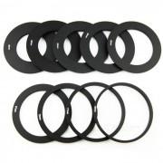 9-Anillos adaptadores + soporte de lentes + juego de capucha cuadrada - negro