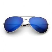 Ediotics Unisex Silver Frame Blue Lens Aviator Sunglasses