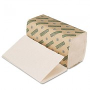 Green Folded Paper Towels, Single-Fold, Natural White, 9W x 10L, 4020/Carton