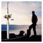 ER Mini aleación de aluminio de la pluma del bolsillo Pesca Forma Fish portátil Rod poste Con Carrete Plata