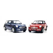 2 Combo Mini Cooper Die cast car toy (Blue Red)