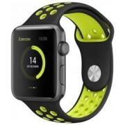 Apple BeHello Premium Apple Watch 44MM / 42MM Bandje Siliconen Zwart/Geel