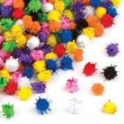 Glitter Pom Poms - 150 sparkly self-adhesive pom poms. 1cm wide in 9 assorted colours: black, white, red, orange, yellow, green, blue, purple & pink.