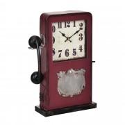 [en.casa]® Stolní hodiny ve tvaru telefonní budky - analogové - 33 x 9 x 40,5 cm - barevné - sklo