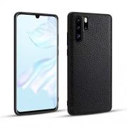 NO-LOGO Anti-caída La Caja del teléfono de TPU for Huawei P30 Pro Caso del patrón de Litchi de Piel Caja del teléfono de protección a Prueba de Golpes contra la caída (Color : Black)