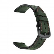For Huawei Watch GT 2/1 with Holes Cowhide Genuine Leather Watch Band - Green