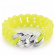 The Rubz Natural Silicone 15mm Unisex Bracelet Neon Yellow & Brushed Silver