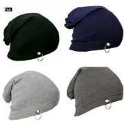 NEW Men Beanie Baggy Slouchy cap hat with Ring thin winter/fall Hat (pack of 4)