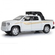 Emob 132 Die Cast Metal Body White Toyota Pickup Truck Car Toy with Light and Sound Effects (Multicolor)