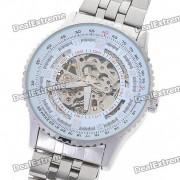 Wilon All-Steel Reloj de pulsera automatico mecanico - Plata + Blanco