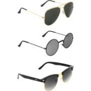 Zyaden Aviator, Round, Clubmaster Sunglasses(Black, Silver, Black)