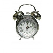 VITREND(R-TM) New Model Classic Look Metalic Twin Bell Alarm Silver Color Table Clock