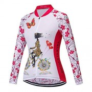 JPOJPO playera de ciclismo de manga larga para mujer de ciclismo de montaña, con cierre completa, otoño e invierno, F manga larga, Tag S(For Your Chest 30-31.5