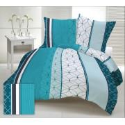Extra hosszú szürke - fekete - piros csíkos 3 részes ágynemű huzat szett