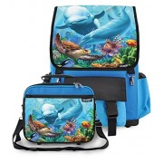 Kidaroo High Quality Backpack & Lunchbox for Girls, Boys, Kids With Sea Village Interchangeable Flaps (Blue)
