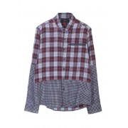 Spy Henry Lau Half Check Long Sleeved Shirt Red SP5304MSHRED