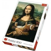 Puzzle Trefl - Mona Lisa and Purring Kitty, 500 piese (64806)