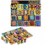 Melissa & Doug Jumbo Numbers & ABC Wooden Chunky Puzzle Bundle